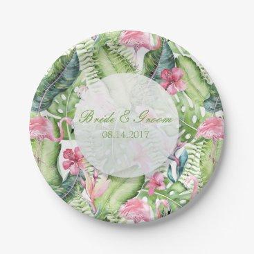 Beach Themed Aloha Flamingo Tropical Beach Wedding Paper Plate