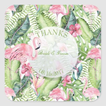 Beach Themed Aloha Flamingo Tropical Beach Wedding Thanks Square Sticker