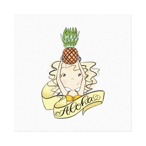 Aloha Girl With Pineapple Canvas wall decor