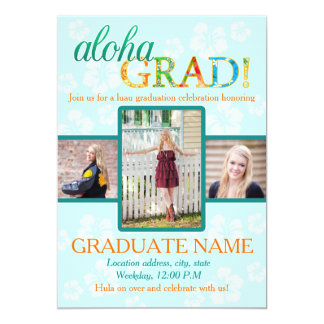 Aloha GRAD Graduation party invitation