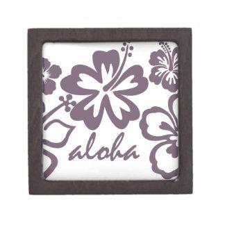 Aloha gray hibiscus premium trinket box