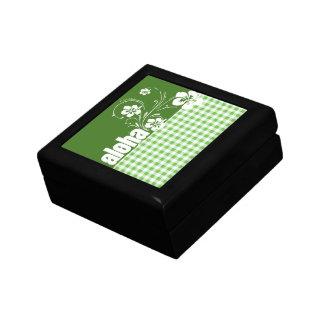 Aloha; Green Checkered; Gingham Trinket Box