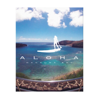 Aloha Hanauma Bay Hawaii Stand Up Paddle Canvas Print