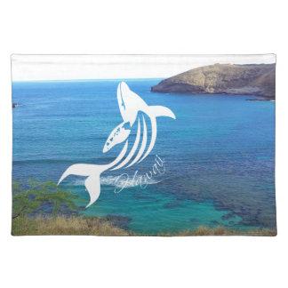 Aloha Hanauma Bay Hawaii Whale and Islands Cloth Placemat