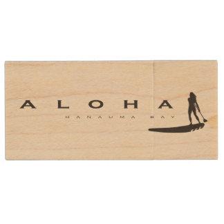 Aloha Hanauma Bay Hawaii Wind Surfer Wood USB Flash Drive