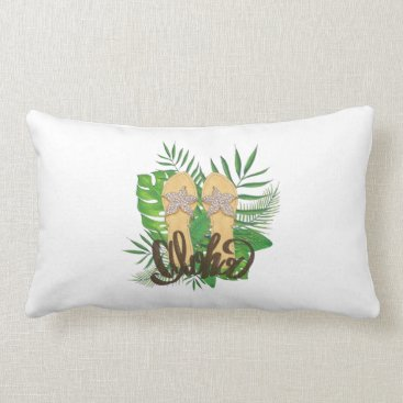 Beach Themed Aloha Hand Painting Palm Leaves Hand Drawn Lumbar Pillow