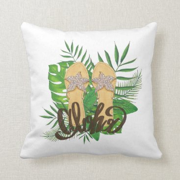 Beach Themed Aloha Hand Painting Palm Leaves Hand Drawn Throw Pillow