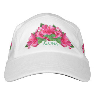Aloha Happiness Pink Hibiscus Flowers Headsweats Hat