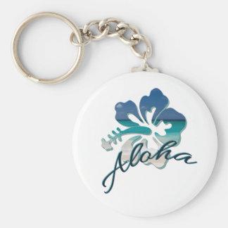 Aloha Hawaii Hibiscus Flower Basic Round Button Keychain