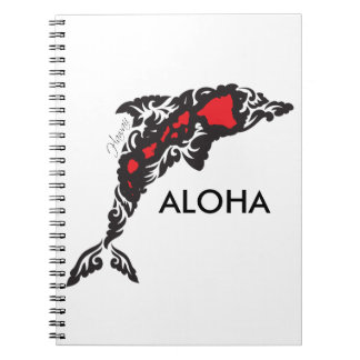 Aloha Hawaii Islands and Dolphin Notebook