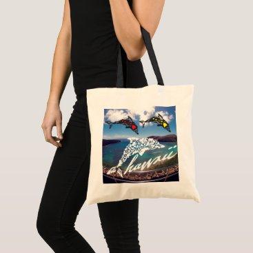 Beach Themed Aloha Hawaii Islands Dolphins Tote Bag