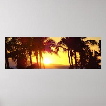 Beach Themed Aloha Hawaii Palm Trees Tropics Sunset Travel Poster
