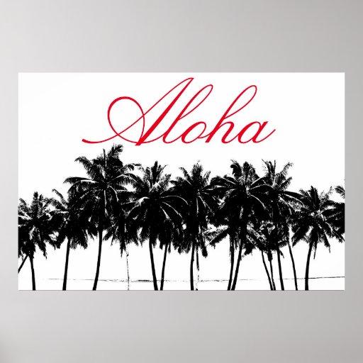 Aloha Hawaii Palm Trees Tropics Travel Poster