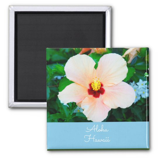 Aloha Hawaii Peach Color Hibiscus Magnet