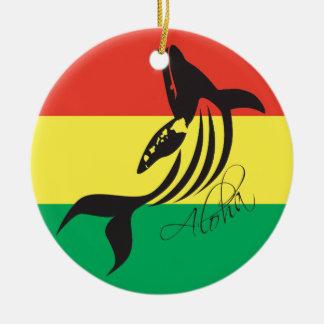 Aloha Hawaii Reggae Whale and Islands Ceramic Ornament