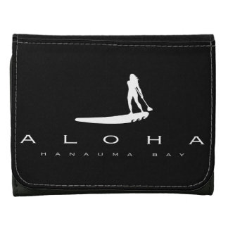 Aloha Hawaii Stand Up Paddling Leather Tri-fold Wallet