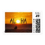 Aloha Hawaii Sunset Ocean Sailboat Postage Stamp