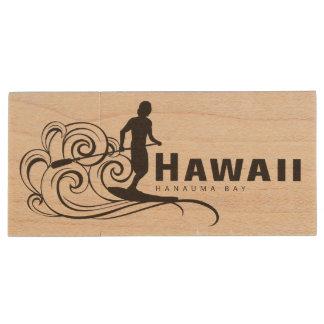 Aloha Hawaii Surfer Wood Flash Drive