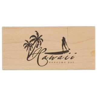 Aloha Hawaii Surfer Wood USB Flash Drive