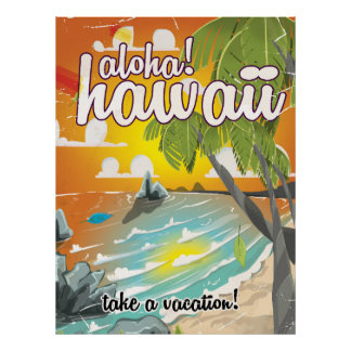 Aloha! Hawaii! vintage travel poster cartoon