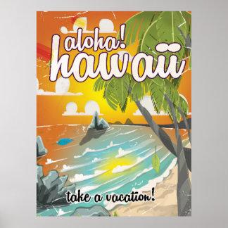 Aloha! Hawaii! vintage travel poster cartoon