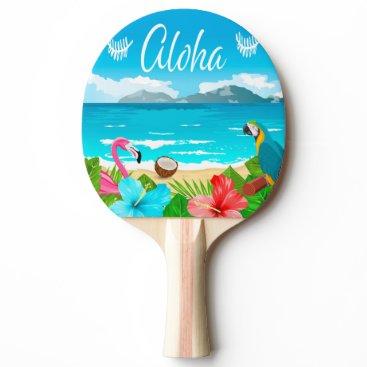 Beach Themed Aloha hawaiian beach with flamingo and flowers Ping-Pong paddle