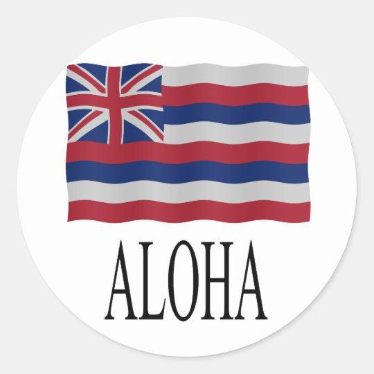 Aloha + Hawaiian flag Classic Round Sticker