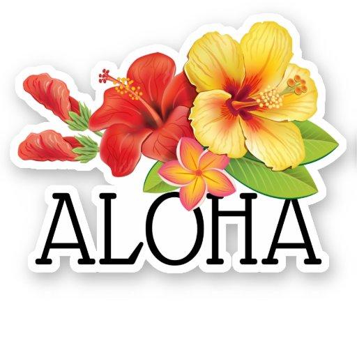 Aloha Hawaiian Flowers Sticker