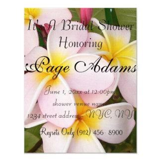 Aloha Hawaiian Frangipani Blossoms Bridal Shower Personalized Invite