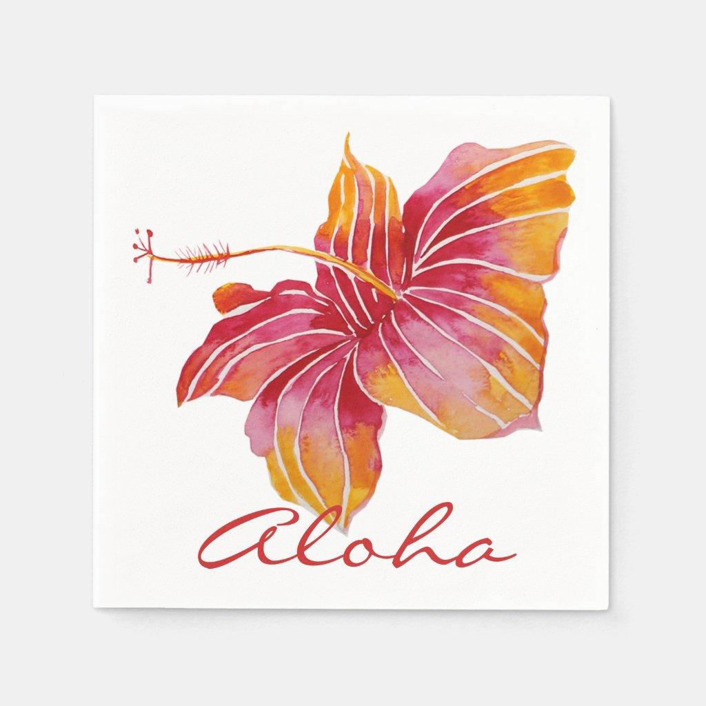 Aloha | Hawaiian Hibiscus Flower Paper Napkins