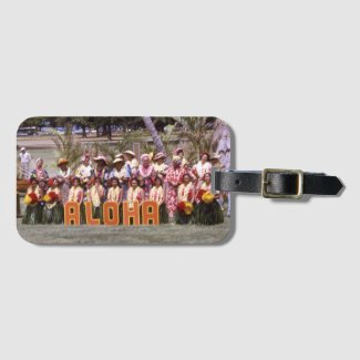 Aloha Hawaiian Hula Vintage Hawaii Retro Travel Bag Tag