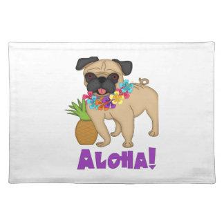 Aloha! Hawaiian Luau Pug and Pineapple Tees, Gifts Cloth Placemat