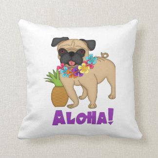 Aloha! Hawaiian Luau Pug and Pineapple Tees, Gifts Throw Pillow