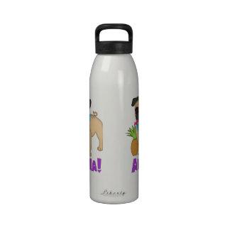 Aloha! Hawaiian Luau Pug and Pineapple Tees, Gifts Water Bottles