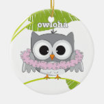 Aloha Hawaiian Owl Ceramic Ornament