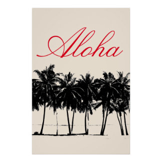 Aloha Hawaiian Palm Trees Tropics Travel Poster