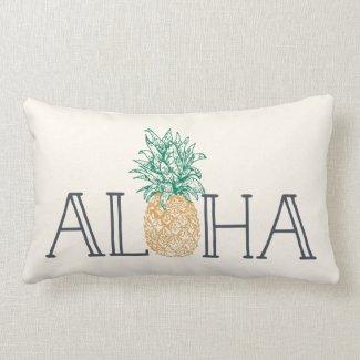 Aloha Hawaiian Pineapple Lumbar Pillow