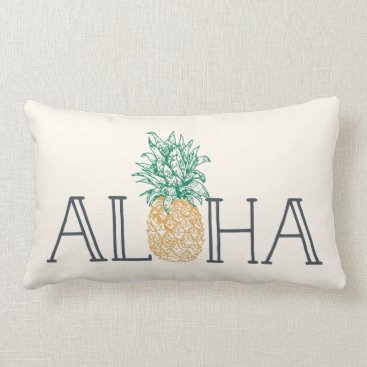 Beach Themed Aloha Hawaiian Pineapple Lumbar Pillow