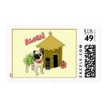 Aloha! Hawaiian Pug Postage Stamps