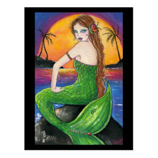 Aloha Hawaiian Sunset Mermaid Postcard
