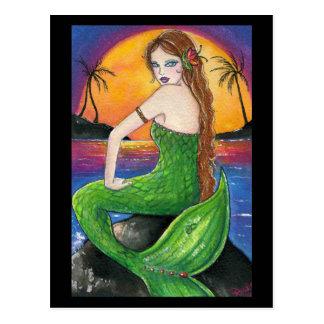 Aloha Hawaiian Sunset Mermaid Postcard
