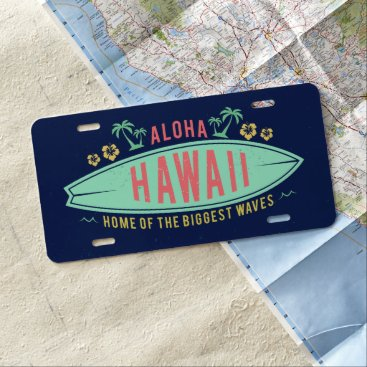 Beach Themed Aloha Hawaiian Surfer license plate