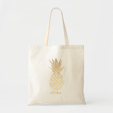 Beach Themed aloha hawaiian tropical gold pineapple tote bag
