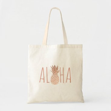 Beach Themed aloha hawaiian tropical rose gold pineapple tote bag