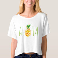 aloha Hawaiian watercolor pineapple t-shirt