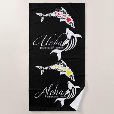Beach Themed Aloha Hawaiii Dolphin Turtle Beach Towel