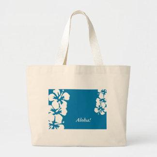 """Aloha!"" Hibiscus Flowers on blue Tote Bag"