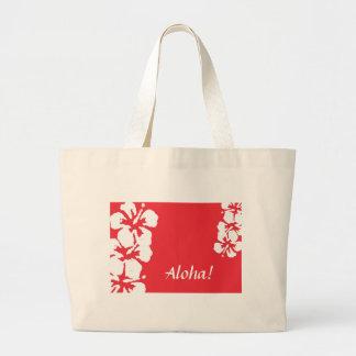 """""""Aloha!"""" Hibiscus Flowers on red Tote Bag Jumbo Tote Bag"""