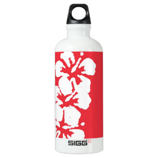 """""""Aloha!"""" Hibiscus Flowers on Red Water Bottle"""