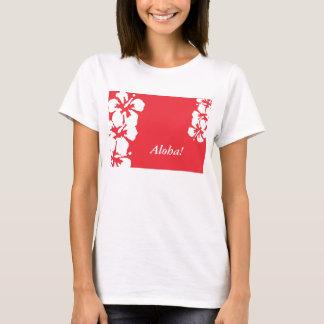 """Aloha!"" Hibiscus Flowers on red women's Tshirt"